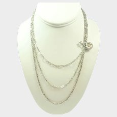 "French Antique Silver Guard Chain with Silver Clip - 54½"" - 18.2 grams"