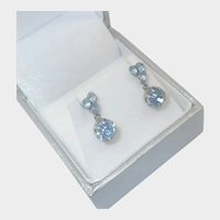 French Antique Silver Plated and Pastes Screw In Earrings