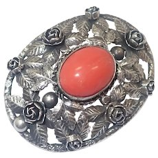 European 800 Silver Large Rose Leaves and Coral Pin