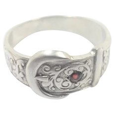 Victorian Style 1976 Sterling Silver Buckle Ring
