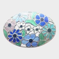 English Sterling Silver and Enamel Floral Pin - AHD&S