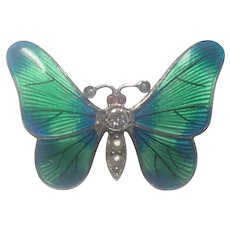 Art Nouveau Silver Enamel and Seed Pearl Butterfly Pin