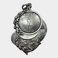 French Art Deco 1923 Weight Lifter's Silver Medal