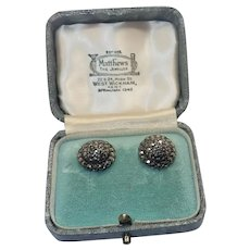 European Silver and Marcasite Clip Back  Earrings in English Box.