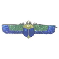 Arts and Crafts Silver Enamel Scarab Pin - CHARLES HORNER