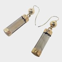 Victorian 9K Gold and Smoky Quartz  Drop Earrings - Newer Hooks