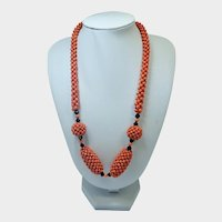 Victorian Natural Coral and Jet Necklace with 9K Clasp