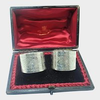 Victorian English 1895 Boxed Sterling Silver Napkin Rings