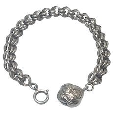 French Art Nouveau Silver Link Bracelet with Floral Ball Charm