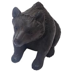Antique Black Forest Carved Bear with Glass Eyes