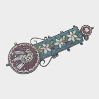 Italian 19th Century Micro Mosaic Dove Pin