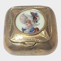 French Antique 'Pomponne' Porcelain Lady Compact Box