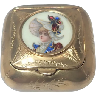 French Antique 'Pomponne' Porcelain Lady Compact Box