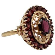 English 1972 9 Carat Gold and Garnet Ring