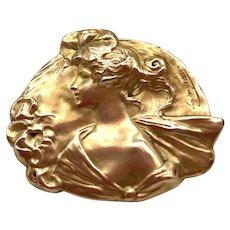French Art Nouveau 18K Gold Filled Lady Pin - MURAT