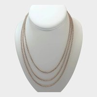 French Antique Double Gold Guard Chain with Slider