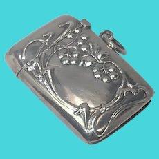Art Nouveau 900 Silver German Vesta Match Striker Case