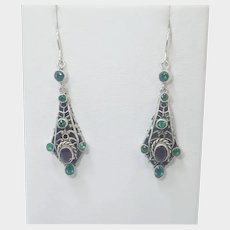 Austro-Hungarian Style Silver Pastes Drop Earrings