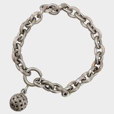 French Antique Silver Engraved Bracelet with Ball Charm