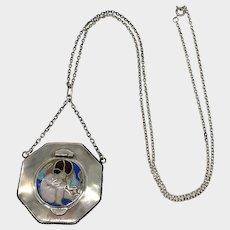 Austrian Secessionist Silver Enamel Cherub Compact Necklace