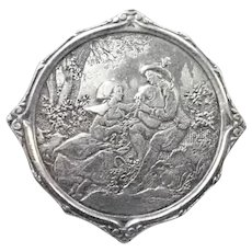 French Antique Silver Provincial Courting Couple Pin