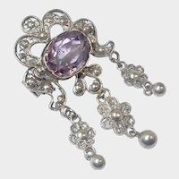 Antique Silver and Amethyst Drop Pin