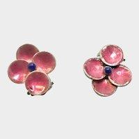 English Art Deco Silver Enamel Clip Earrings - unsigned BERNARD INSTONE