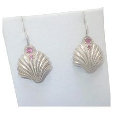 Sterling Silver and Ruby Scallop Shell Earrings