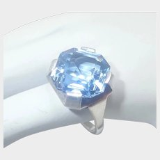 French Art Deco Silver and Large Blue Amethyst Ring