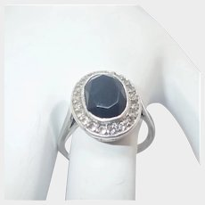French Black Onyx and Pastes on Silver Ring