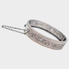 French Antique Napoleon 111  Silver and Rose Gold Bangle