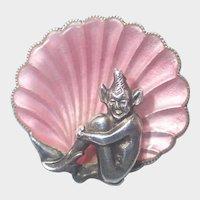 English Art Deco Silver Enamel Pixie Pin - unsigned Bernard Instone