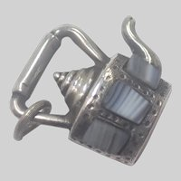 Victorian Scottish Silver and Montrose Agate Tea Kettle Charm