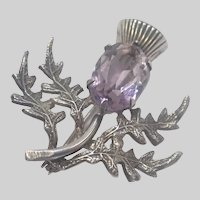 Scottish Thistle Sterling Silver Amethyst Pin - WBS
