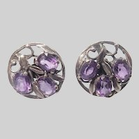 Arts & Crafts Sterling Silver and Genuine Amethyst Earrings for Pierced Ears
