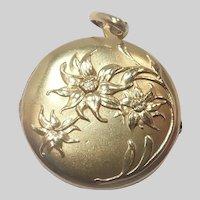 French Art Nouveau Gold Filled 'ORIA' Eidelweiss Locket