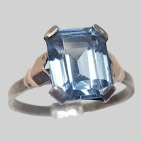 French Art Deco Blue Spinel Gemstone on Silver Ring