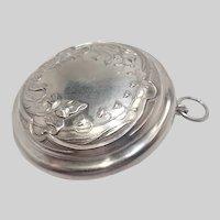 French Art Nouveau Silver Chatelaine Pill Box Pendant