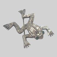 European Art Deco Silver Frog Pin