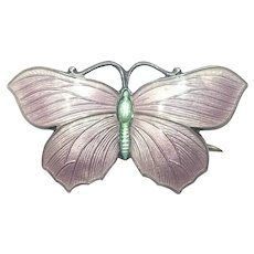 English Silver Enamel Butterfly circa 1918 - JA&S