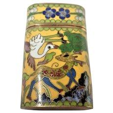 Chinese Cloisonné Enamel Bird and Deer Box