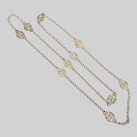 """French Gold Plated or Pomponne Scrolling Necklace  - 29½"""""""