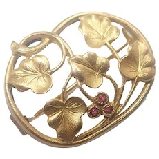 French Art Nouveau Gold Filled 'FIX' Leaf Pin