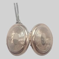 French 19th C Silver Vermeil Locket with newer Silver Chain