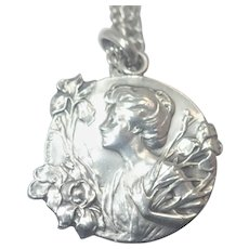 French Art Nouveau Silver Dropsy  Pendant with Newer Chain