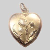 French Art Nouveau Gold Filled 'FIX' Iris Heart Pendant