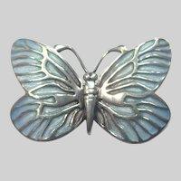 Norman Grant Scotland Silver Enamel Butterfly Pin