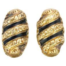 Norwegian Gold Washed Silver Enamel Earrings - Screw Backs -HANS MHYRE