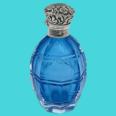 Victorian Silver Bohemian Glass Perfume Bottle