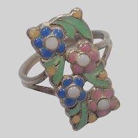 Art Deco Silver Enamel Flower Ring - unsigned Bernard Instone
